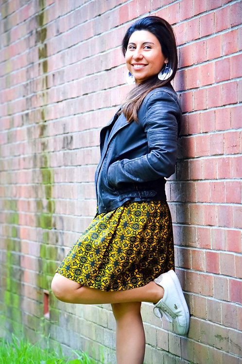 Summer Skirt in Yellow African Print (Size Medium to Large)