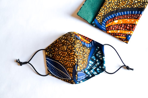 Fabric Face Mask - Earthy Blue Pattern
