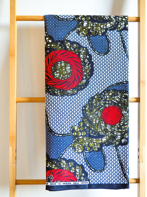 Bold Red Motive on Navy (2 metres)