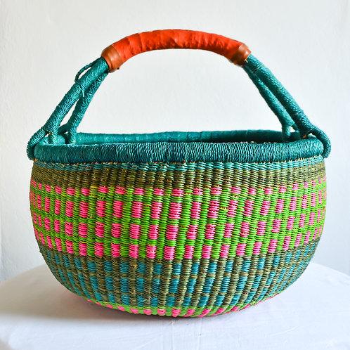 Round Bolga Basket Large (Ocean blue)