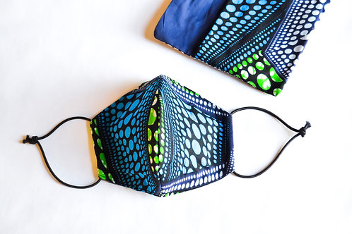 Fabric Face Mask - Funky Blue Pattern