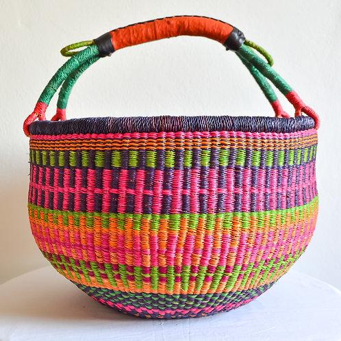 Round Bolga Basket XLarge (Pink Purple Green)