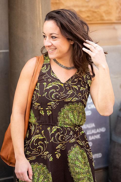 Long Hi-Low Dress in Brown Pattern (Size Small)