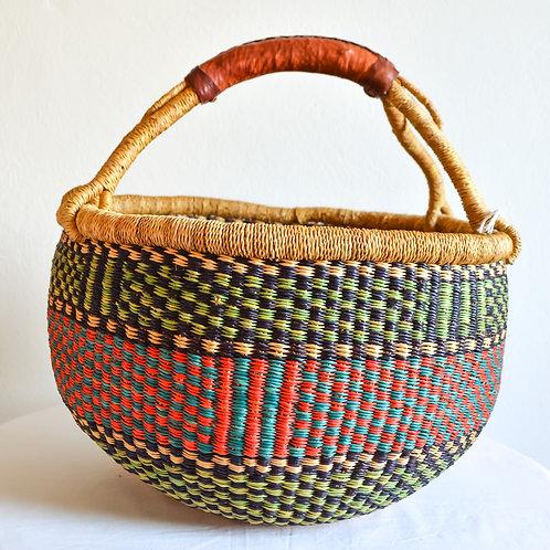 Round Bolga Basket Medium (Olive Green)