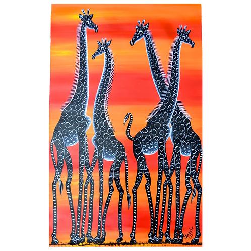 A Family of Four - Artwork (unframed) - 50 x 77 cm
