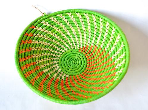 Handwoven Basket Bowls - Intricate Green Pattern