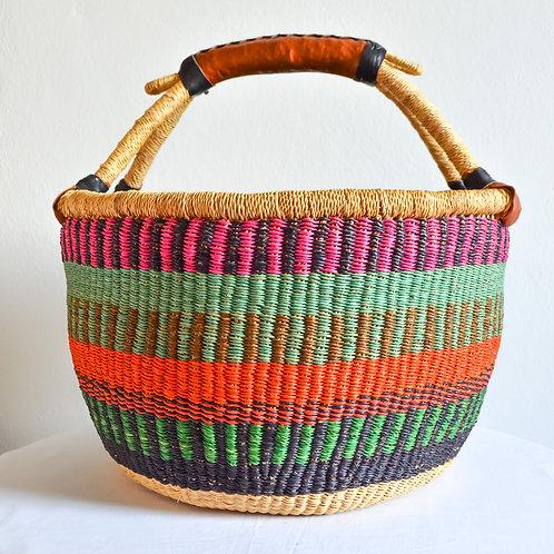 Round Bolga Basket Large (Happy colours)