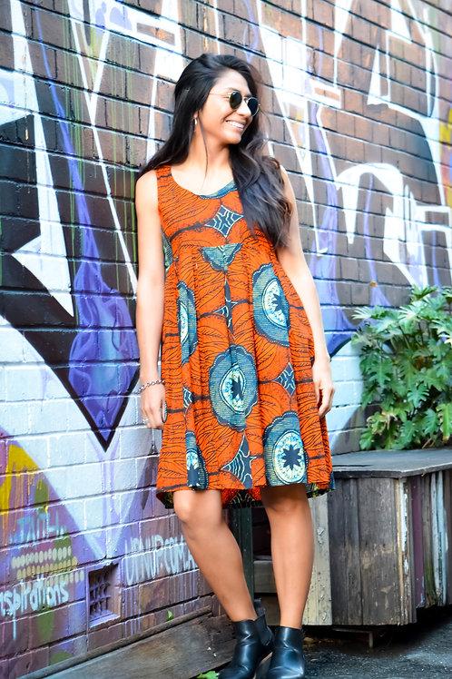 Deep Orange Summer Tunic Dress (Size Medium)