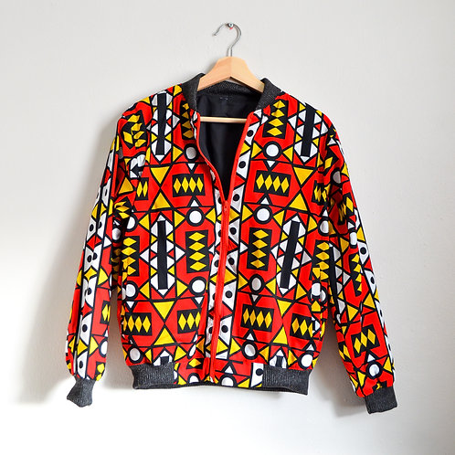 African Print Bomber Jaket in Bold Red (Size M)