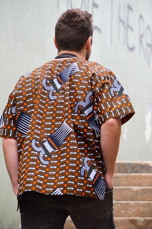 The Mandela Shirt in Orange White Pattern (Size Large)