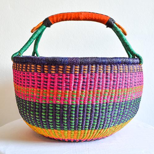 Round Bolga Basket XLarge (Pink Purple)