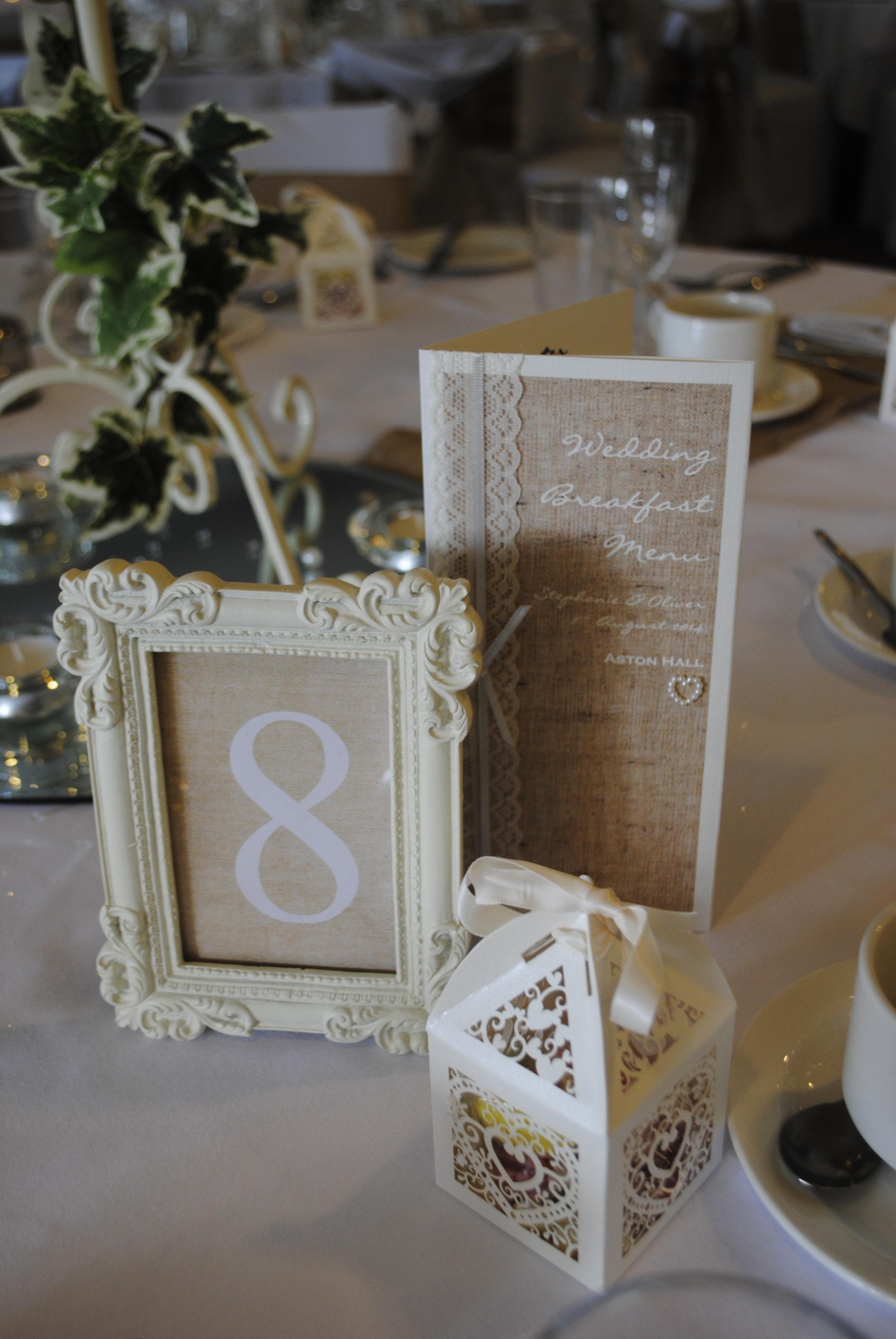 Menu & Framed Table Number