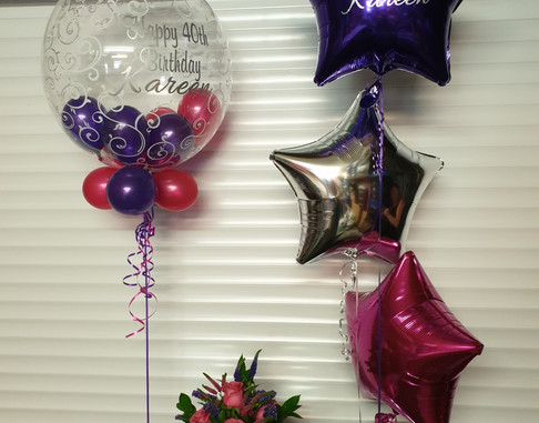 Scrpit print hot pink and purple birthday balloon