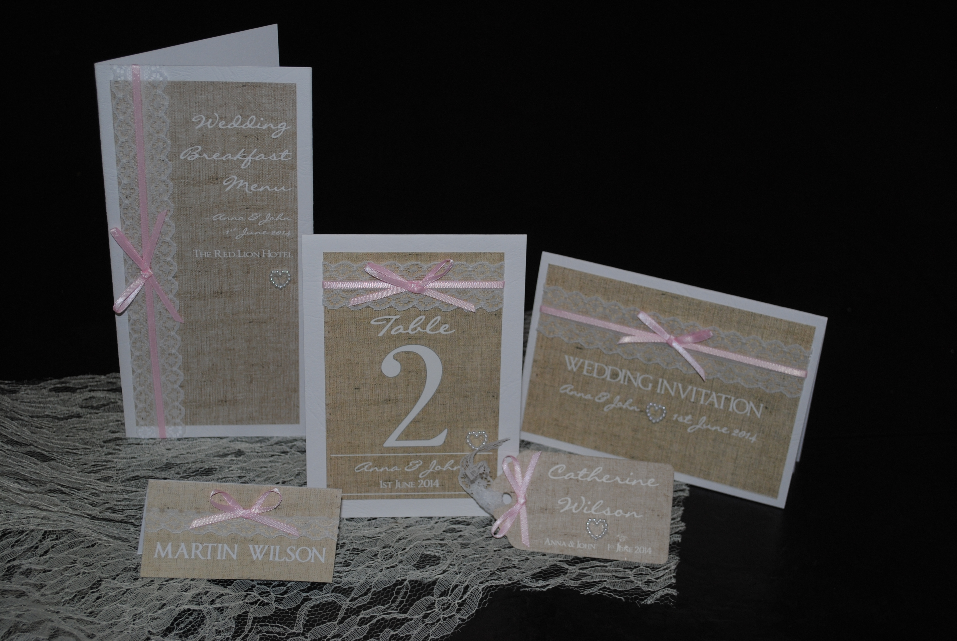 Burlap & Lace Collection with ribbon