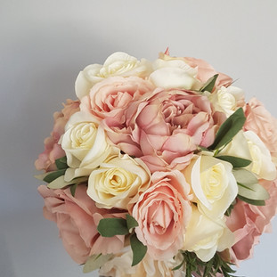 blush pink, ivory and greenery artificial bouquet