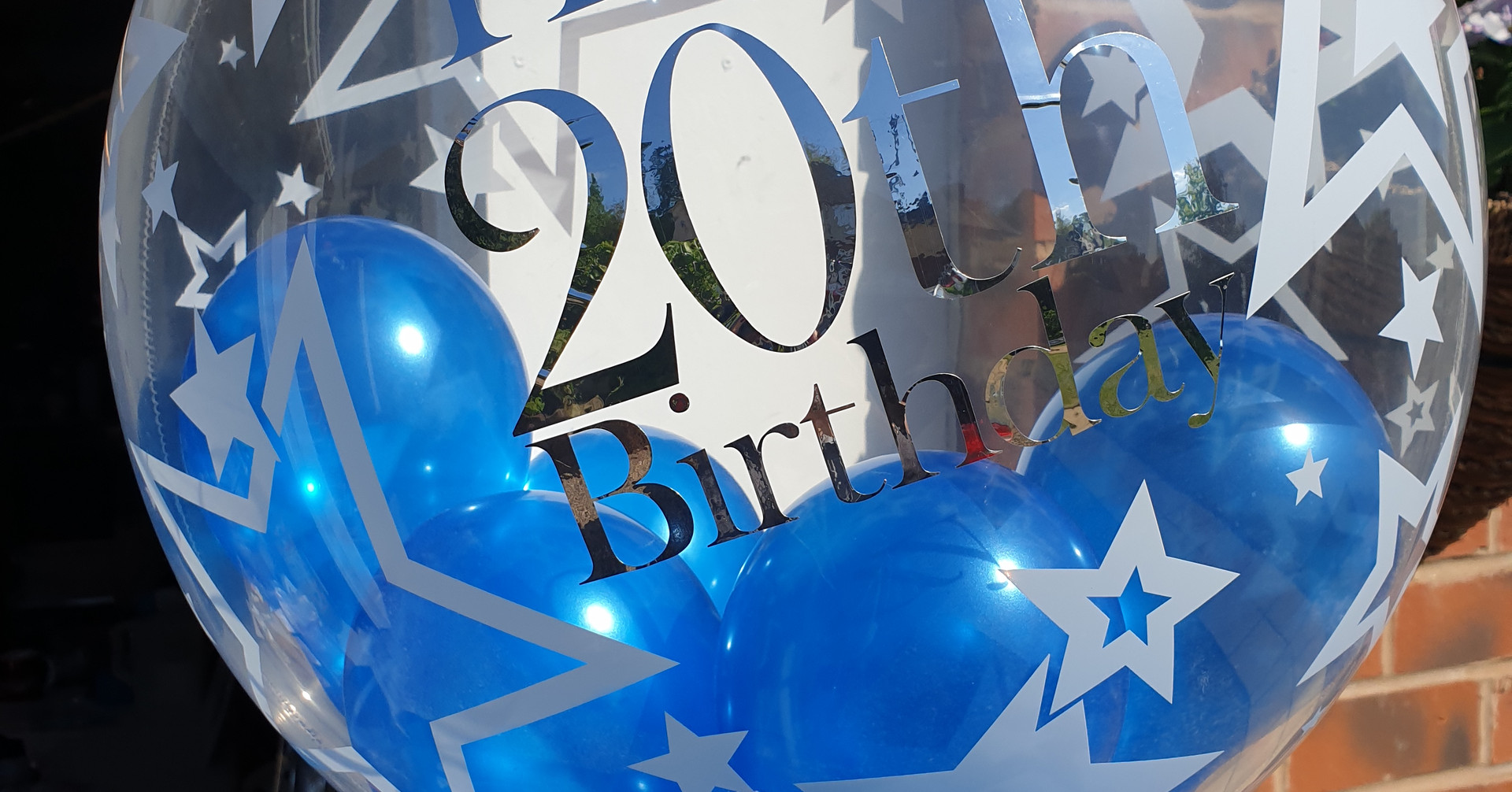 Star print blue birthday bubble