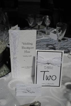 Menu & table number