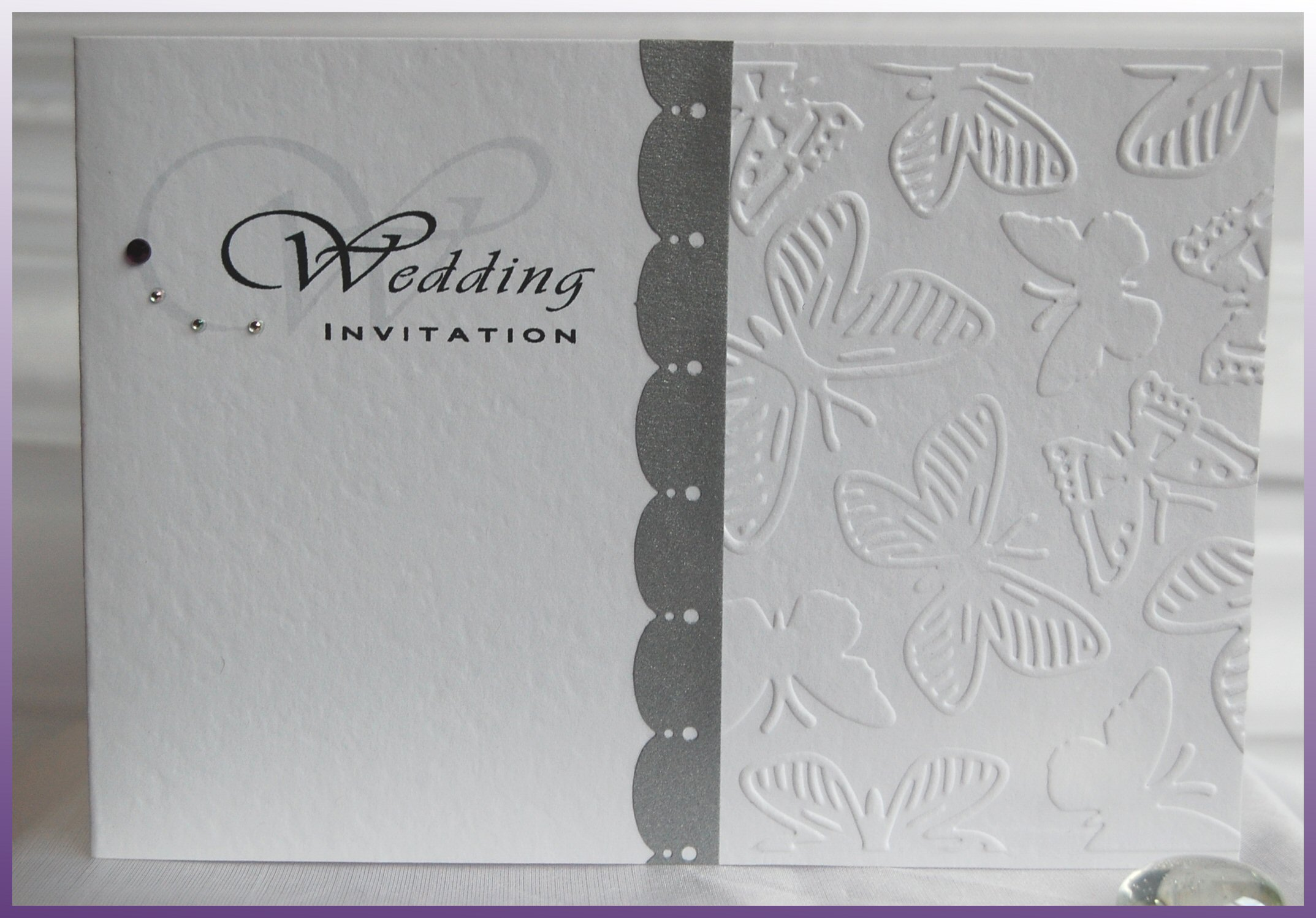 Embossed Butterfly Day Invitation