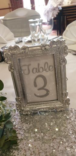 Vinyl Silver Framed Table Number