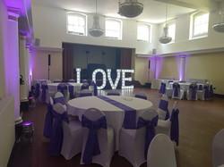 Purple uplighting at Wortley Hall