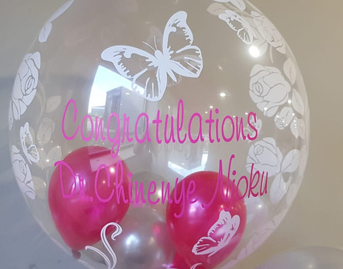 Butterfly pink and silver congratulation bubble balloon