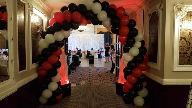 red white & black spiral arch