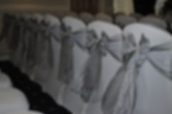 Chair cover & double tied sash with lace hire