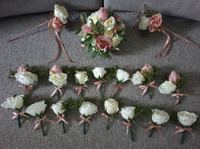 Artificial blush and Ivory rosewands