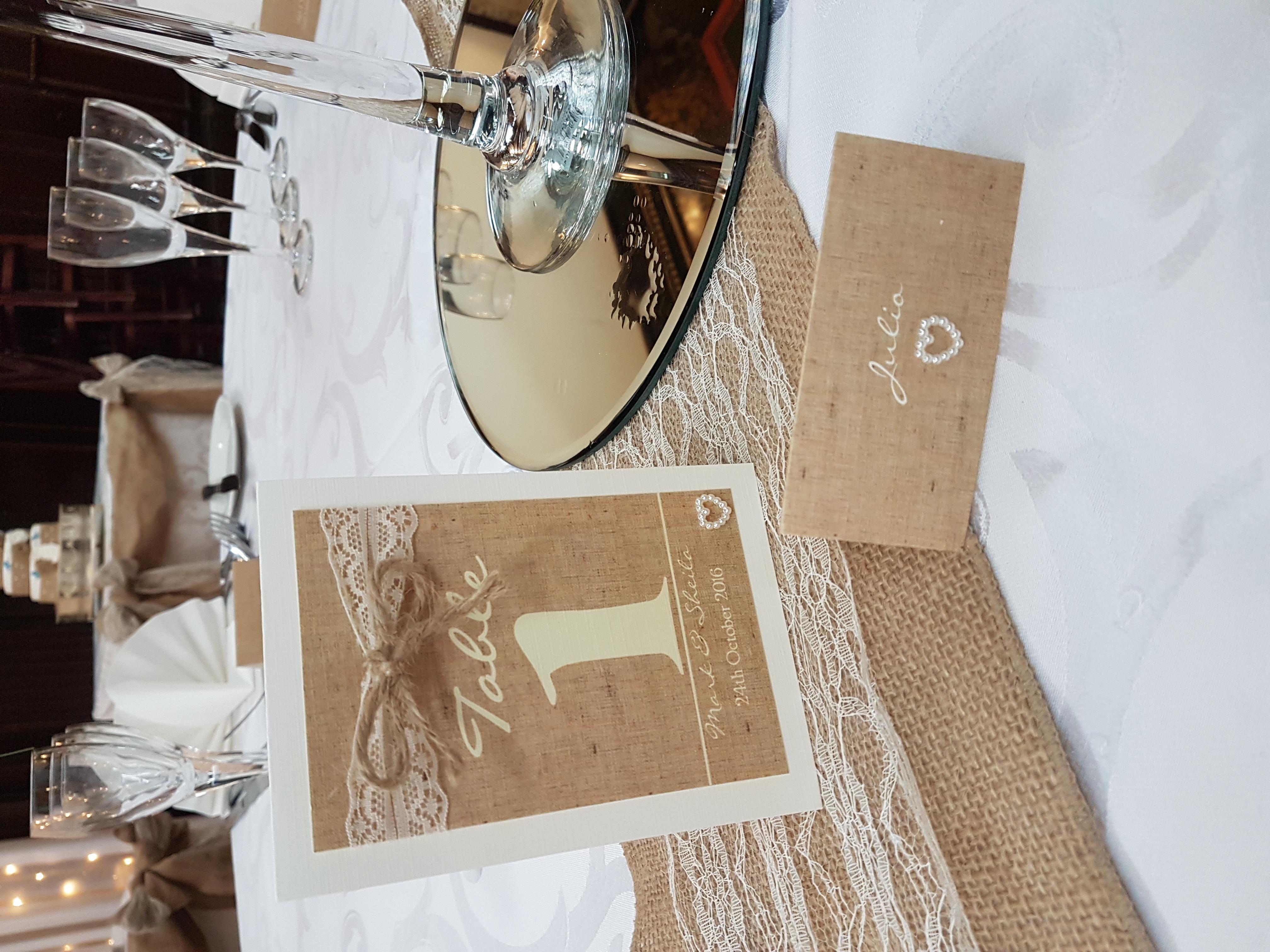 Burlap & Lace Number & Name Card