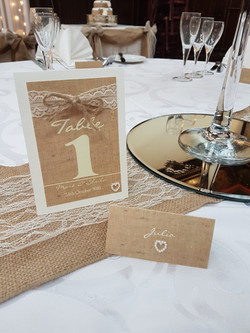 Burlap & Lace Number & Name Card