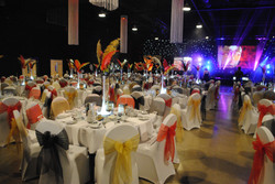 White Chair Covers with Black, Red & Gold Sash