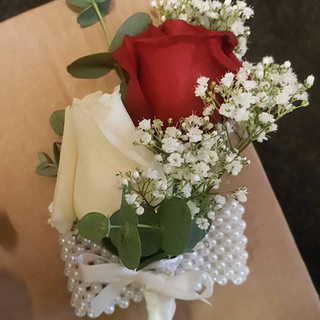 Ivory& red rose with gyp wrist corsage