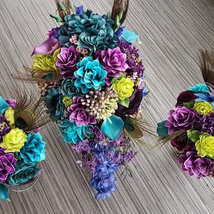 Artificial mixed peacock bridal bouquet