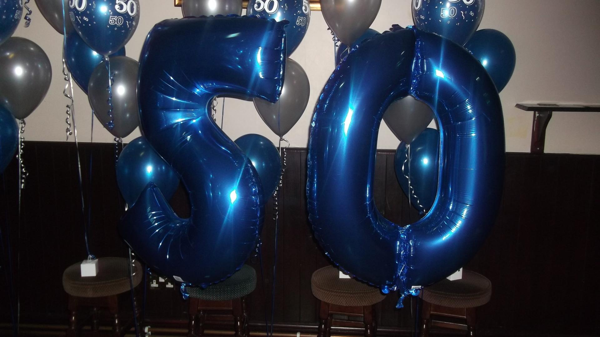 Blue Foil Number Balloon 50