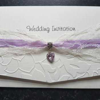 Lovely Lace Pocket Fold Invitation