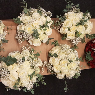 Fresh red & ivory rose bridal bouquet
