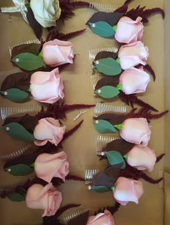 Fresh pink rose & astilbe combs