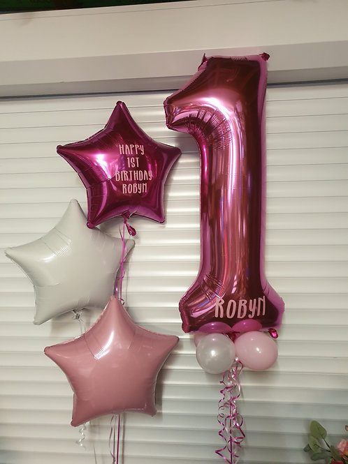 Personalised Trio of Foil Balloons, Hearts, Circle or stars