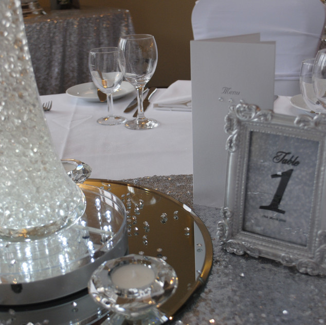 Silver framed table numbers