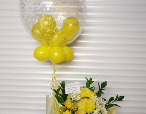 Script print lemon birthday bubble balloon