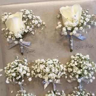 Fresh Ivory Rose & Gyp Buttonholes