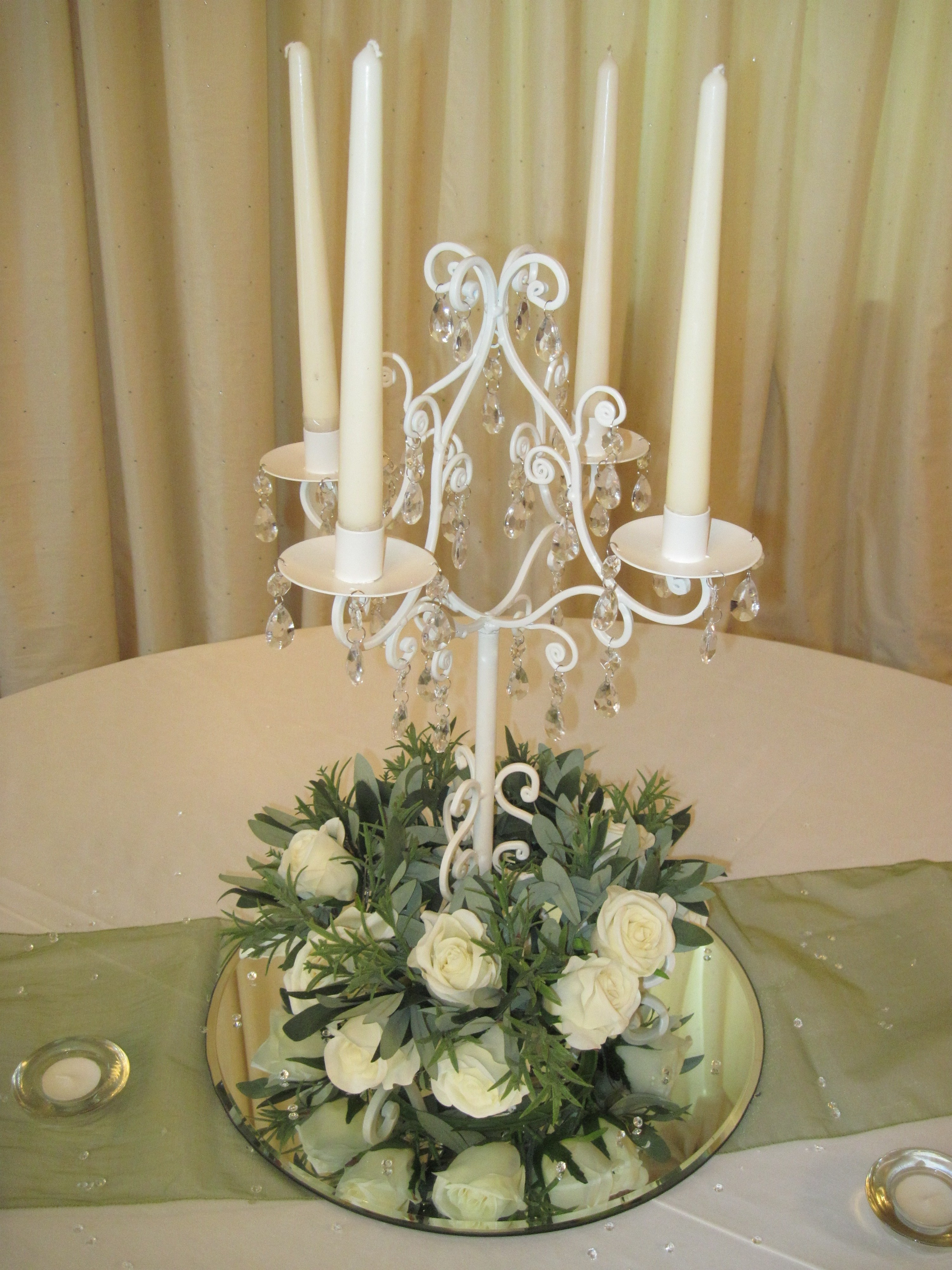 Vintage cream short candelabra