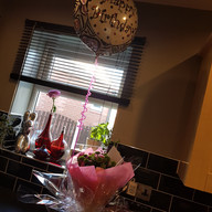 Birthday balloon, card and bouquet