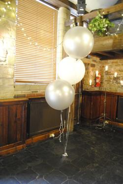 Silver & white 3ft balloons