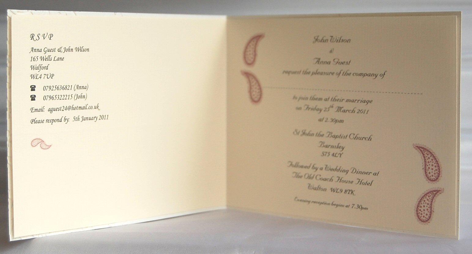 Paisley Standard Invitation Inside