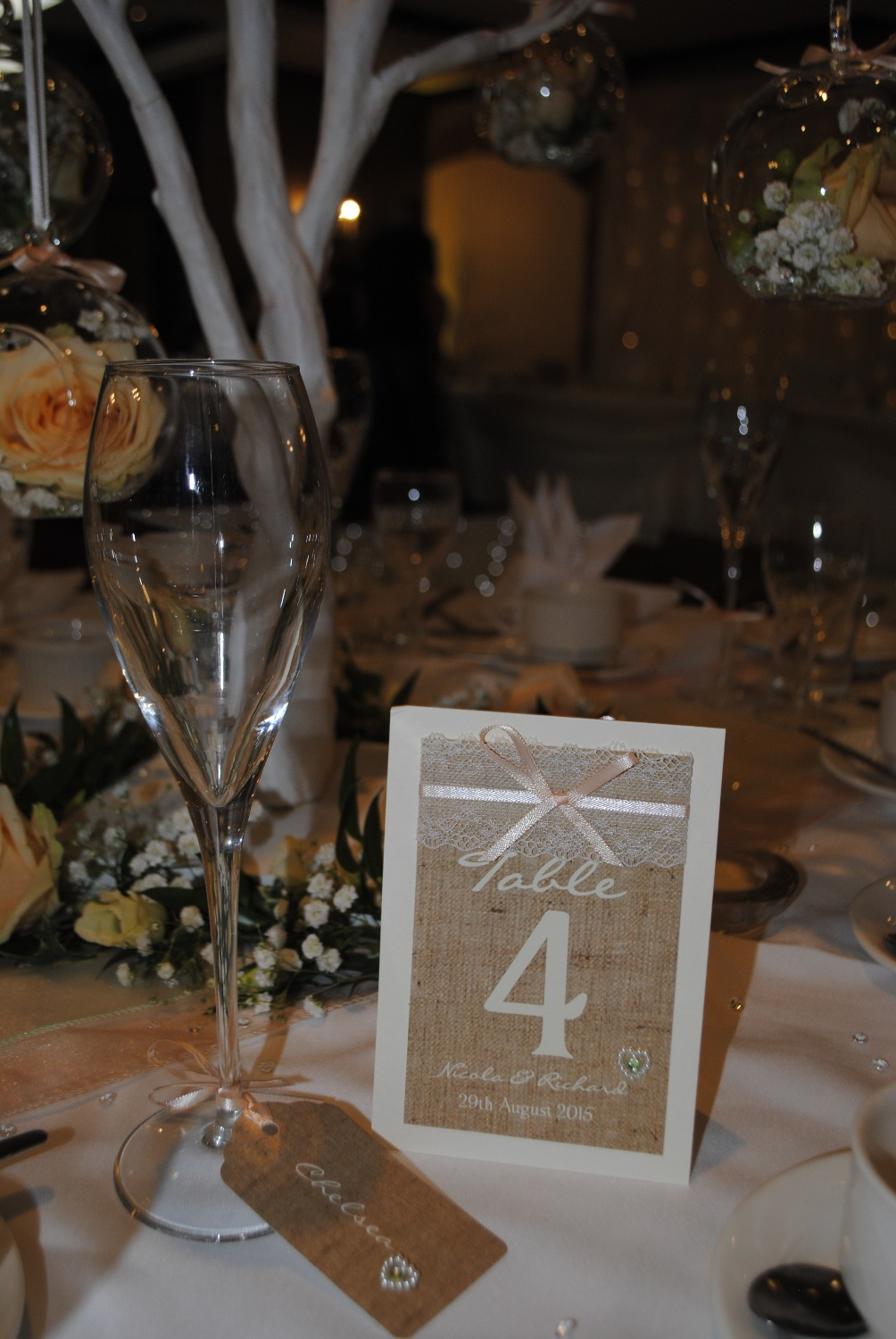 Burlap & Lace Number & Luggage Name