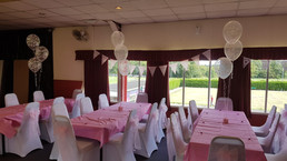 Trio of Clear Christening Balloons & Chair covers with pink sashes