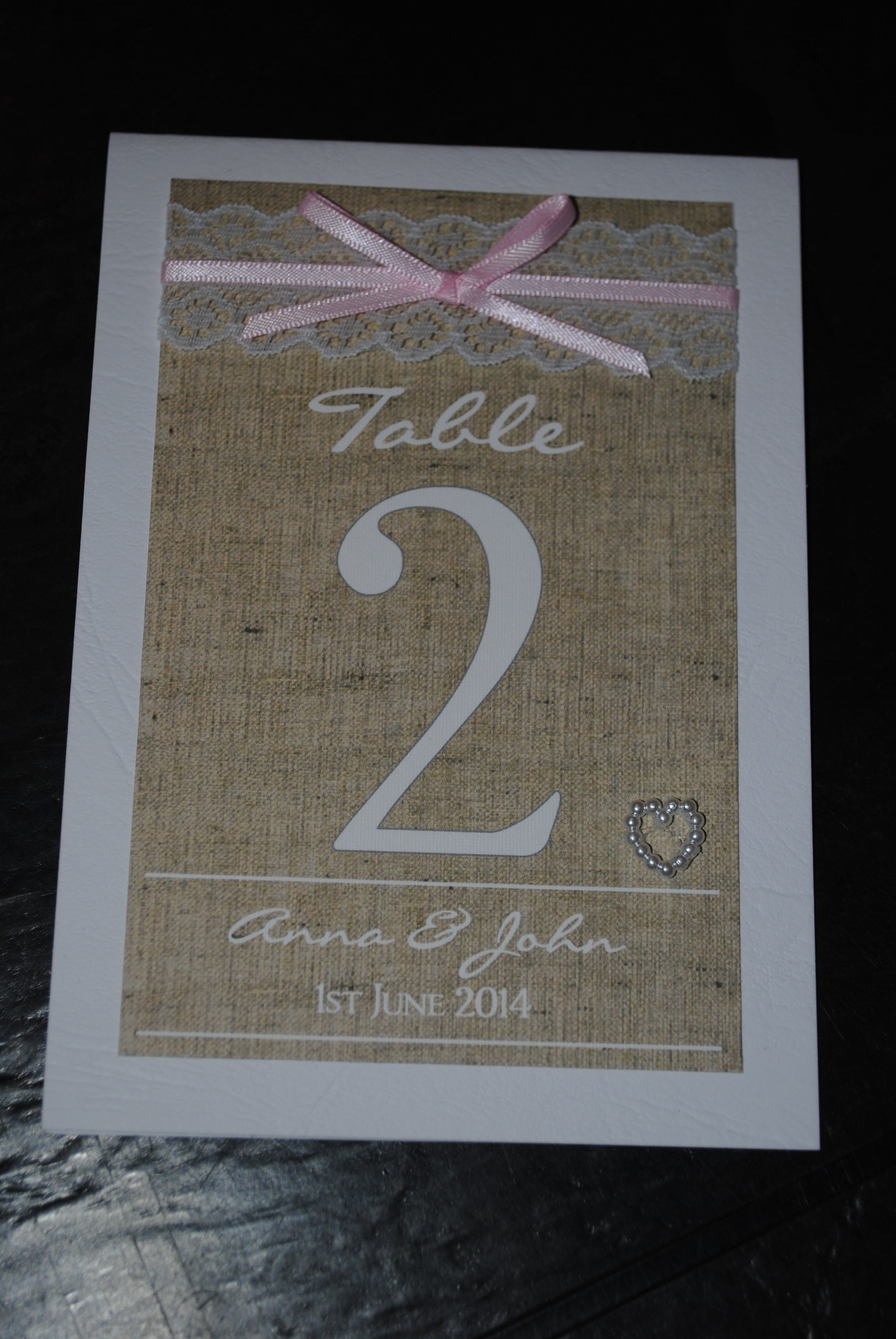 Burlap & Lace Table Number