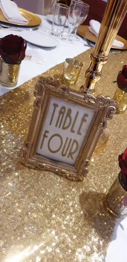 Gold Framed Vinyl Table Number
