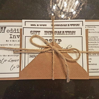 Rustic Brown Card & Twine DL Invitation